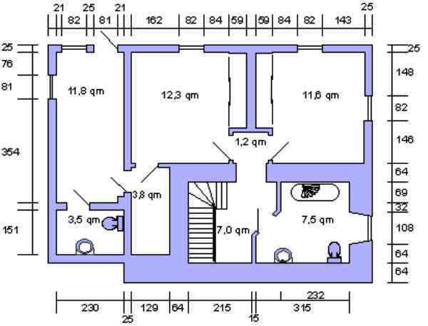 Der Grundriss des unteren Stockwerkes